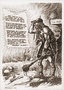 Anti German Prints - World War 1 Cartoon Of A Barbaric Print by Everett