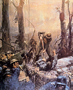 Battle Art - World War I, American Marines In The by Everett