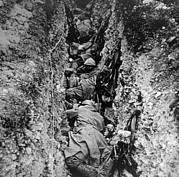 Trenches Framed Prints - World War I, French Soldiers Resting Framed Print by Everett