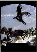 1910s Poster Art Framed Prints - World War I, Italian Eagle Attacking Framed Print by Everett