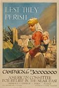 World War I Poster. Lest They Perish Print by Everett
