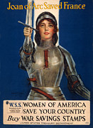 1910s Poster Art Framed Prints - World War I, Poster Showing Joan Of Arc Framed Print by Everett