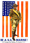 Flagg Posters - World War I, Recruitment Poster Poster by Everett