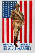 Flagg Posters - World War I: U.s. Marines Poster by Granger