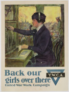 Telephone Framed Prints - World War I YWCA poster Framed Print by Clarence F Underwood