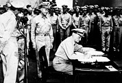 Historical Document Posters - World War Ii, Admiral Nimitz Signing Poster by Everett