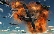 Vintage Air Planes Posters - World War Ii Aerial Combat Poster by Mark Stevenson