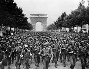 Champs Elysees Framed Prints - World War Ii American Troops Marching Framed Print by Everett