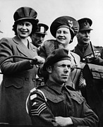 Queen Mother Elizabeth Prints - World War Ii. Back Row, From Left Print by Everett