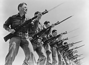 Bayonet Photo Prints - World War Ii, Bayonet Practice Print by Everett