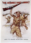 James Montgomery Framed Prints - World War Ii, Marines Recruiting Poster Framed Print by Everett
