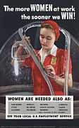 Wwii Propaganda Photos - World War Ii, Poster Depicting A Woman by Everett