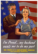 Kerchief Prints - World War Ii, Poster Showing A Husband Print by Everett