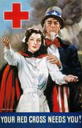 Flagg Posters - World War Ii: Red Cross Poster by Granger
