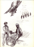Wwi Drawings - World War One sketch No. 2 by Andrew Gillette