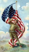 American Flag Digital Art Posters - World War One Soldier Poster by War Is Hell Store