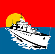 World War Two Artwork Posters - World War Two Battleship Warship Cruiser Retro Poster by Aloysius Patrimonio