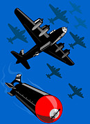 Air Travel Digital Art Prints - World War Two Bomber Airplanes Drop Bomb Retro Print by Aloysius Patrimonio