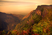 Amazing Sunset Posters - Worlds End. Horton Plains National Park. Sri Lanka Poster by Jenny Rainbow