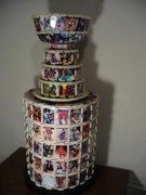 Nhl Sculptures - Worlds First NHL Hockey Card Stanley Cup by Pj Artman