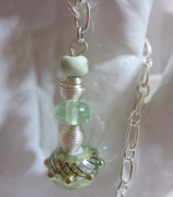Organic Jewelry - Worlds in Greens Necklace by Janet  Telander