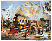 Central Illinois Posters - Worlds Railroad Scene Poster by Granger