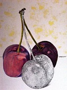 Colored Pencil Metal Prints - Worldview Cherries Metal Print by D K Betts