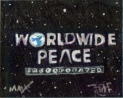 Pants Drawings Posters - Worldwide Peace Incorporated Poster by Robert Wolverton Jr