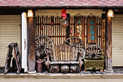 Miyajima Framed Prints - Worn Bench on an Asian Porch Framed Print by Jeremy Woodhouse
