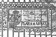 Photocopy Prints - Worn Historic Plaza de Armas Tile Plaque New Orleans Black and White Photocopy Digital Art Print by Shawn OBrien