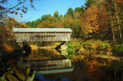 Country Scene Prints - Worralls Bridge Vermont - New England Fall Landscape covered bridge Print by Jon Holiday