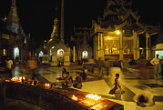 Religions Prints - Worshippers Pray At Shwedagon Paya Print by Maria Stenzel