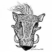 Tusk Prints - Wort Hog Print by Karl Addison