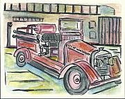 Minnesota Painting Originals - Worthington Fire Engine by Matt Gaudian