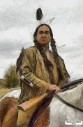 Famous People Painting Originals - Wounded Knee by Murphy Elliott