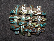 Purple Jewelry Sculptures - Woven green and blues Pin by Megan Brandl