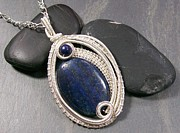 Jordan Jewelry - Woven Oval Lapis Lazuli and Silver Pendant by Heather Jordan