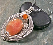 Jordan Jewelry - Woven Oval Orange Calcite and Silver Pendant by Heather Jordan