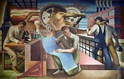 Factory Workers Framed Prints - Wpa Mural. Mural By Charles Klauder Ca Framed Print by Everett