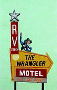 Sign Drawings Framed Prints - Wrangler Motel Framed Print by Glenda Zuckerman