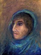 Faces Pastels - Wrapped In A Shawl by Arline Wagner