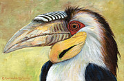 Yellow Beak Painting Metal Prints - Wreathed Hornbill  Metal Print by Svetlana Ledneva-Schukina