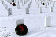 Headstones Prints - Wreaths Adorn The Graves Of Veterans Print by Stocktrek Images