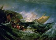 Shipwreck Paintings - Wreck of a Transport Ship by Joseph Mallord William Turner