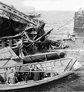 Battleship Photos - Wrecked Battleship - Maine in the Havana Harbor - Cuba - c 1898 by International  Images