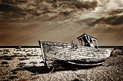 Wooden Boat Photo Framed Prints - Wrecked Framed Print by Meirion Matthias