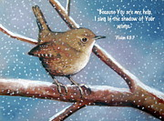 Bible Pastels Posters - Wren in Snow with Bible Verse Poster by Joyce Geleynse