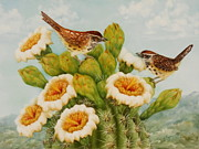 Summer Celeste Painting Prints - Wrens on Top of Tucson Print by Summer Celeste