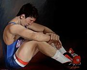 Wrestling Painting Originals - Wrestle  Part I  by Richard Shook