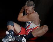 Wrestling Painting Originals - Wrestle Part III by Richard Shook